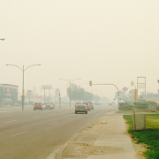 Smoky sky on 8th St in Saskatoon. June 29th, 2015