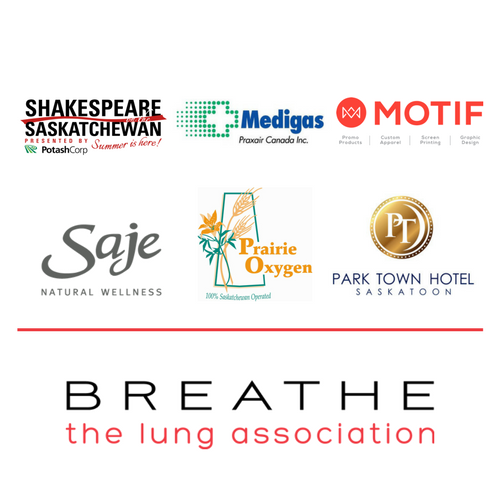 Shakespeare on the Saskatchewan, Medigas, Motif, Saje Natural Wellness, Prairie Oxygen, Park Town Hotel, The Lung Association.